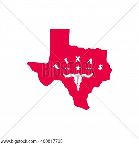 Texas State Silhouette Print Design For T-shirt. Red On White Background
