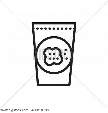 Organic Flax Seeds Color Line Icon. Outline Pictogram For Web Page.