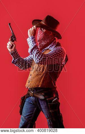 American Bandit In Mask, Western Man With Hat. Man Wearing Cowboy Hat, Gun. West, Guns. American Cow