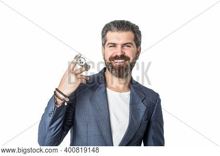 Hand In With Wrist Watch In A Business Suit. Elegant Handsome Man In Suit. Handsome Bearded Business