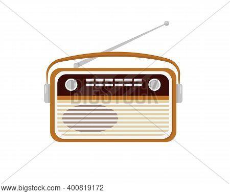 Retro Radio Isolated On White Background. Old Or Vintage Radio. Vector Illustration.