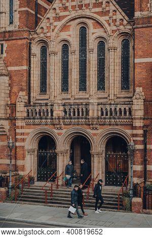 London, Uk - December 5, 2020: Facade Of Ukranian Church, A Red Brick Greek Catholic Place Of Worshi