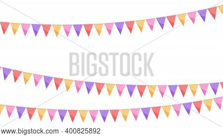 Red Purple Orange Paper Bunting Party Flags Isolated On White Background. Carnival Garland With Flag