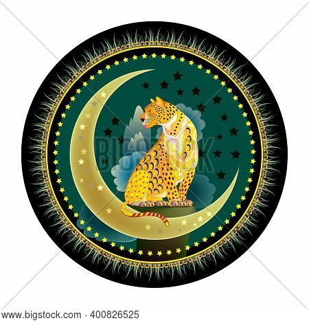 Round Dish Ornate Wits Fantastic Leopard Sitting On The Moon. Modern Decoration In Eastern Style. Co