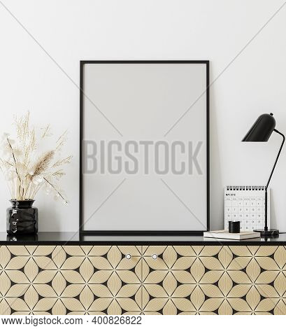 Mockup Poster Frame In Modern Interior With White Wall, Table Lamp, Calendar And Golden Print Chest