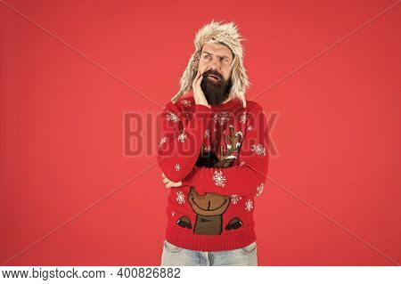 Life Changing Decision. Hipster Bearded Man Wear Winter Sweater And Hat. Happy New Year. Winter Part