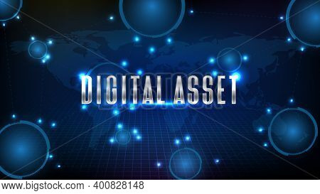 Abstract Glowing Futuristic Background Of Digital Asset Line Connection And World Map