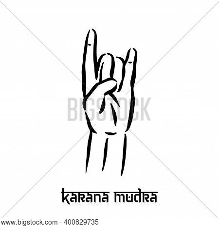 Karana Mudra. Hand Spirituality Hindu Yoga Of Fingers Gesture. Technique Of Meditation For Mental He