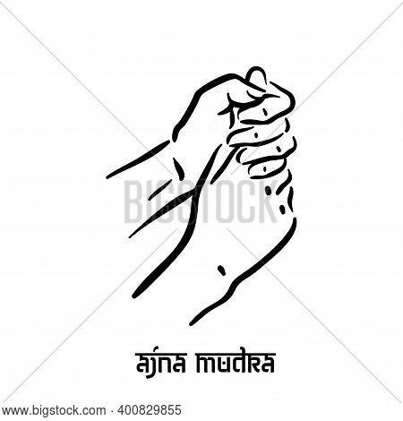 Ajna Mudra. Hand Spirituality Hindu Yoga Of Fingers Gesture. Technique Of Meditation For Mental Heal