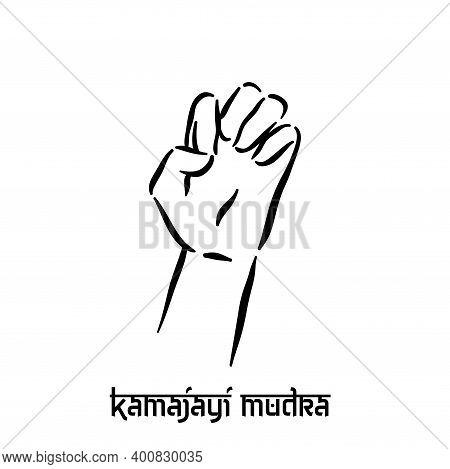 Kamajayi Mudra. Hand Spirituality Hindu Yoga Of Fingers Gesture. Technique Of Meditation For Mental