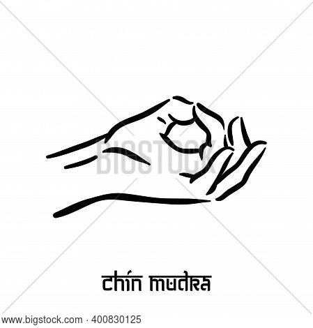 Chin Mudra. Hand Spirituality Hindu Yoga Of Fingers Gesture. Technique Of Meditation For Mental Heal