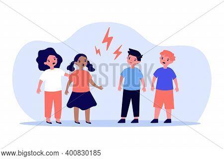 Little Boys And Girls Quarrelling Angrily. Kid, Child, Lightning Flat Vector Illustration. Relations