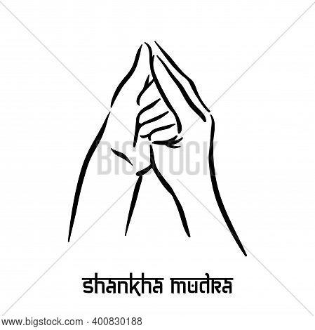 Shankha Mudra. Hand Spirituality Hindu Yoga Of Fingers Gesture. Technique Of Meditation For Mental H