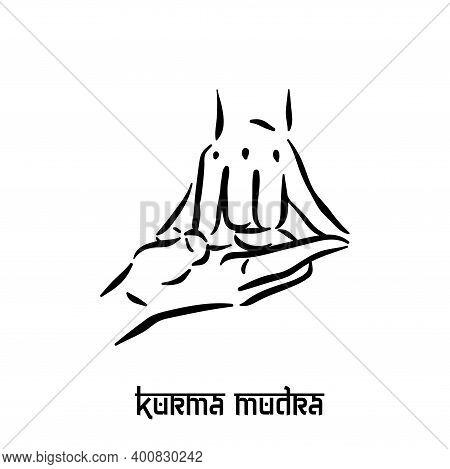 Kurma Mudra. Hand Spirituality Hindu Yoga Of Fingers Gesture. Technique Of Meditation For Mental Hea