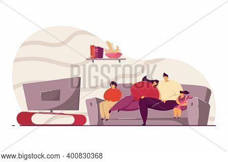 Family With Kids Relaxing On Sofa And Watching Tv Flat Vector Illustration. Happy Cartoon Mom, Dad A