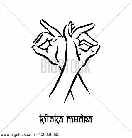Kilaka Mudra. Hand Spirituality Hindu Yoga Of Fingers Gesture. Technique Of Meditation For Mental He