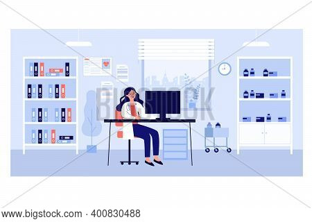 Doctor Office In Clinic. Female Physician Sitting At Desk In Room With Remedies An Folders. Vector I