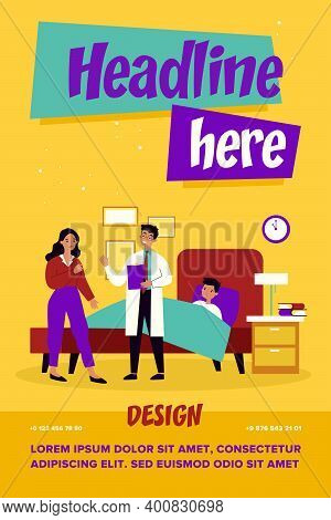 Attending Medical Doctor Talking With Worried Mother. Child, Bed, Flu Flat Vector Illustration. Medi