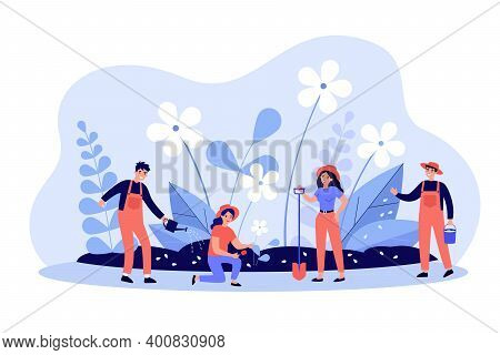 Group Of People With Tools Working In Garden. Gardeners Planting And Watering Flowers In Spring. Vec