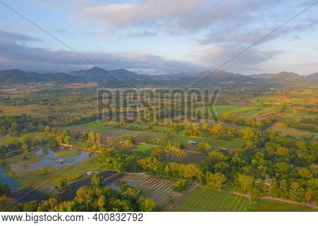 Aerial View Of Hotel Resort With Green Mountain Hill. Nature Landscape Background In Khao Yai, Nakho