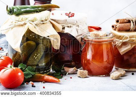 Canned Food Concept. Fermented, Pickled, Marinated Preserved Vegetarian Food. Organic Vegetables And