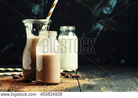 Chocolate Milk In Bottles, Selective Focus With Copy Space