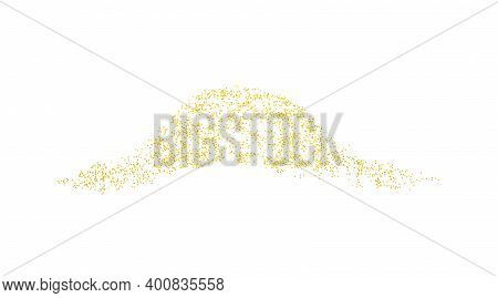 Horizontal Decor Wave Sprinkled With Crumbs Golden Texture. Background Gold Dust On A White Backgrou