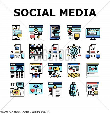 Internet Social Media Collection Icons Set Vector. Social Media Page Registration And Internal Commu