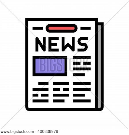 Newspaper With News Articles Color Icon Vector. Newspaper With News Articles Sign. Isolated Symbol I
