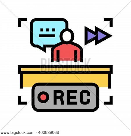 Rewind Recording News Color Icon Vector. Rewind Recording News Sign. Isolated Symbol Illustration