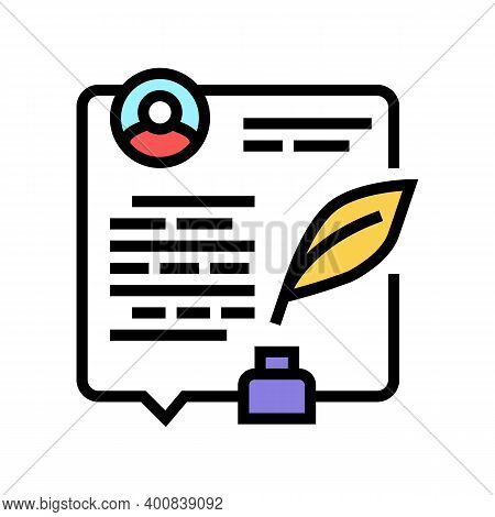 Writing News Article Color Icon Vector. Writing News Article Sign. Isolated Symbol Illustration