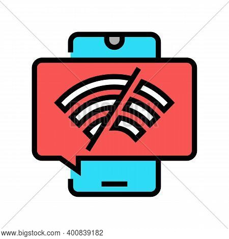 Wifi Disconnected Mobile Phone Color Icon Vector. Wifi Disconnected Mobile Phone Sign. Isolated Symb