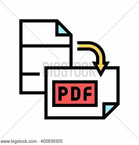 Orientation Pdf File Color Icon Vector. Orientation Pdf File Sign. Isolated Symbol Illustration