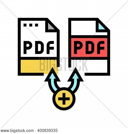 Renewal Pdf Software Color Icon Vector. Renewal Pdf Software Sign. Isolated Symbol Illustration