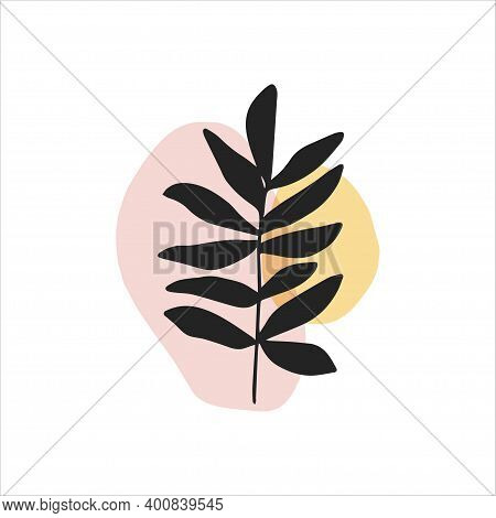 Abstract Digital Shape With Plant Isolated On White Background. Flat Vector Illustration. Minimalist