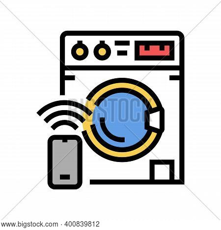Washer Remote Control Color Icon Vector. Washer Remote Control Sign. Isolated Symbol Illustration