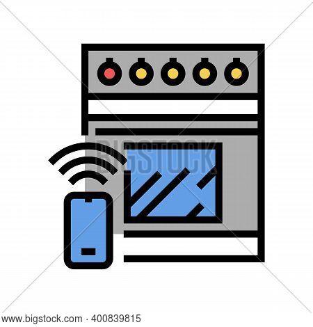 Kitchen Stove Remote Control Color Icon Vector. Kitchen Stove Remote Control Sign. Isolated Symbol I