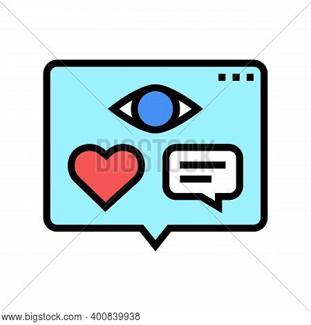 Vision, Likes And Comments Of Video Color Icon Vector. Vision, Likes And Comments Of Video Sign. Iso