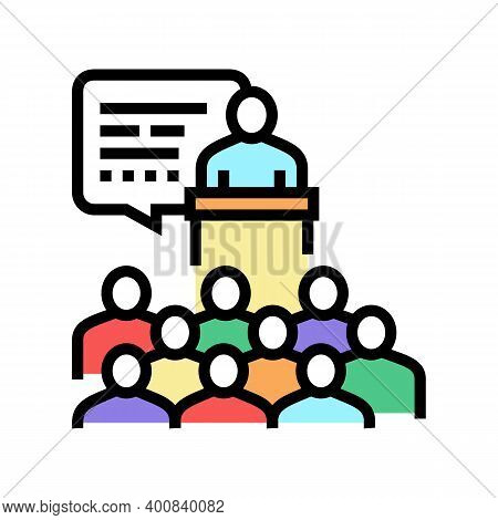 Parents Meeting Color Icon Vector. Parents Meeting Sign. Isolated Symbol Illustration
