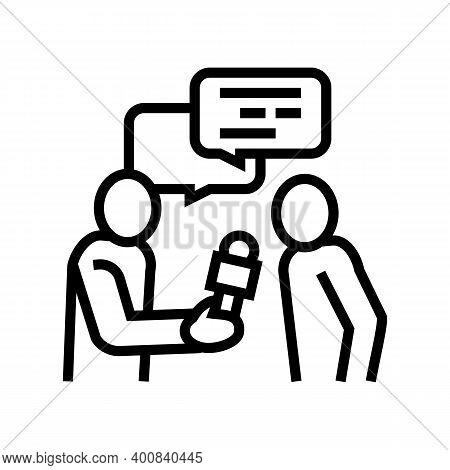 Interview Journalist Line Icon Vector. Interview Journalist Sign. Isolated Contour Symbol Black Illu