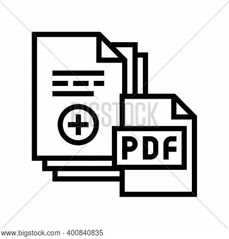 Documentation Scan Adding In Pdf File Line Icon Vector. Documentation Scan Adding In Pdf File Sign.