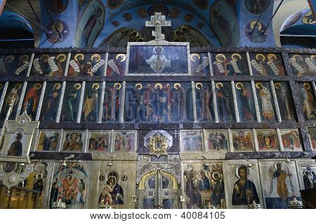 Interior Of The Trinity Cathedral In Pochaev Lavra - Icons Of The Saints On The Altar
