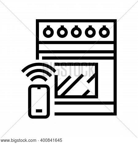 Kitchen Stove Remote Control Line Icon Vector. Kitchen Stove Remote Control Sign. Isolated Contour S