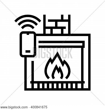 Fireplace Control System Of Smart Home Line Icon Vector. Fireplace Control System Of Smart Home Sign