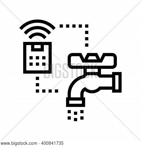 Faucet Control Of Smart Home Line Icon Vector. Faucet Control Of Smart Home Sign. Isolated Contour S