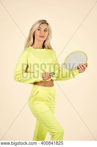 Sport And Sportswear Fashion. Sporty Woman Hold Tennis Racquet. Female Tennis Player Isolated On Whi