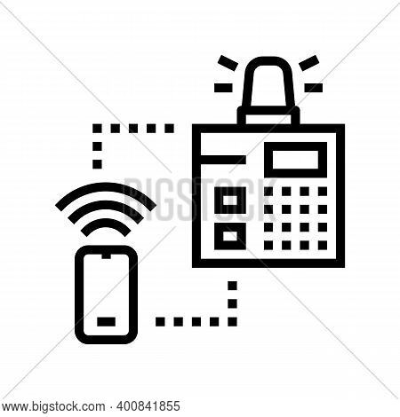Security System Main Panel Line Icon Vector. Security System Main Panel Sign. Isolated Contour Symbo