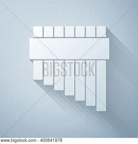 Paper Cut Pan Flute Icon Isolated On Grey Background. Traditional Peruvian Musical Instrument. Zampo