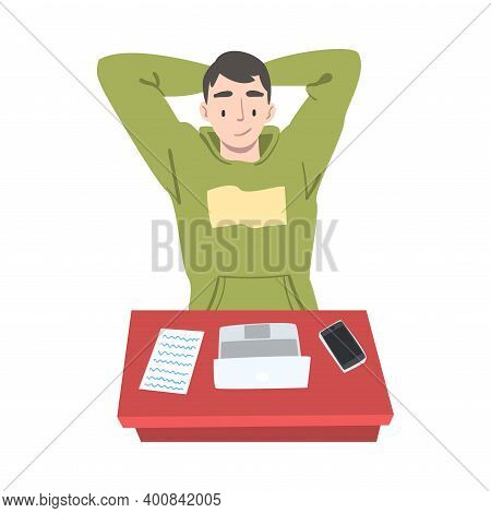Satisfied Man Journalist Or Columnist At Workplace Thinking Over Article Topic Vector Illustration