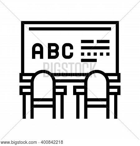 Classroom Blackboard Line Icon Vector. Classroom Blackboard Sign. Isolated Contour Symbol Black Illu